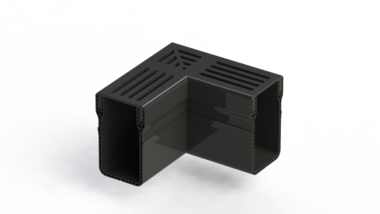 Stardrain hoek 65x100mm zwart