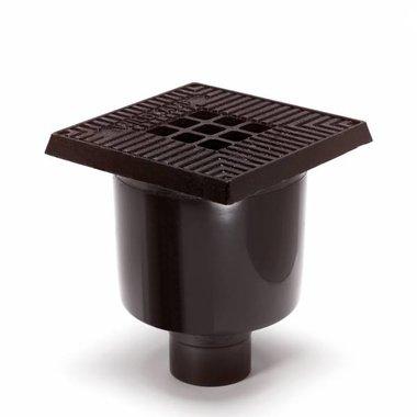 Kunststof vloerput met gietijzeren rand en rooster 200x200mm
