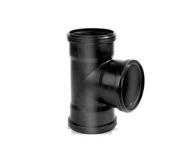PP t-stuk 90mm 90gr. 3xmanchet zwart