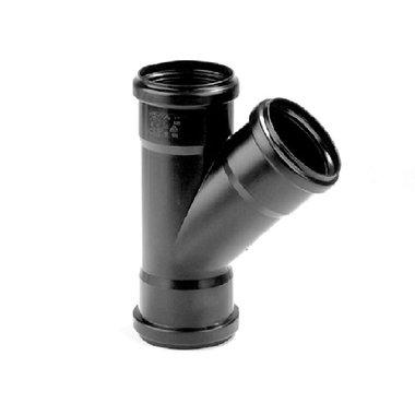 PP t-stuk 50mm 45gr. 3xmanchet zwart