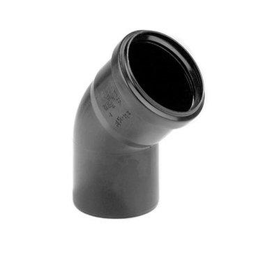 PP bocht 75mm 45gr. 1xmanchet zwart