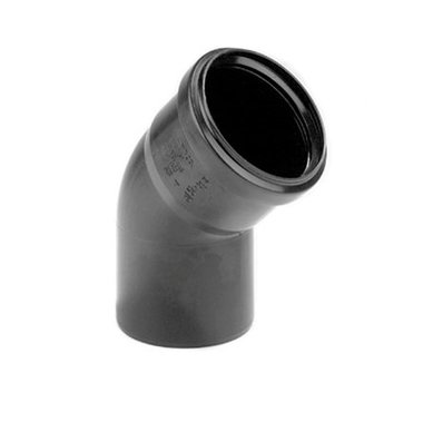 PP bocht 90mm 45gr. 1xmanchet zwart